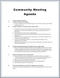 Agenda Outlines Templates Community Meeting Agenda Template Printable Meeting Agenda