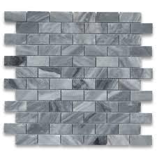 bardiglio gray 1x2 medium brick mosaic tile polished