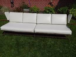 sofa couch for sale. VTG MCM Mid-century Mod Metal Frame, White Vinyl, Wooden Arm Sofa Couch For Sale N