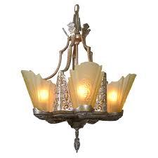art deco slip shade chandelier for