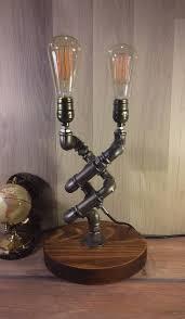 industrial lighting diy. Rustic Decor, Unique Table Lamp, Industrial Lighting, Steampunk Light, Housewarming, Lighting Diy