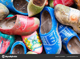 traditional handmade dutch wooden shoes stock photo