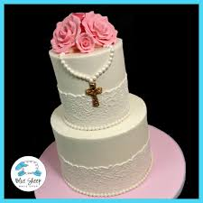 Lace And Roses First Holy Communion Buttercream Cake Nj