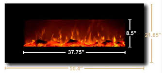 fireplace dimensions 50 4 w x 21 65 h x 5 5 w off the wall depth flame viewing area 8 5 h by 37 75 wide firebox dimensions for recessing unit