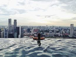 Scenic View From Marina Bay Sands Singapore Rooftop Infinity Stock