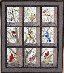 Quilted and Pieced Wall Hanging Attic Window Birds in by MiniMade ... & Quilted and Pieced Wall Hanging Attic Window Birds in by MiniMade Adamdwight.com