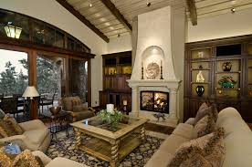 fireplace column ideas living room terranean with area rug built in cabinets seating area
