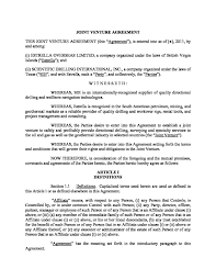 Agreements with third parties and with affiliates of the joint venturers. Microsoft Word Joint Venture Agreement V1 Doc Joint Venture Agreement Template Knowing The Detail Information Related To Join Joint Joint Venture Venture