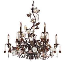 cristallo fiore 9 light deep rust ceiling mount chandelier