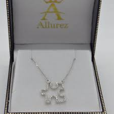 diamond puzzle pendant necklace 14k