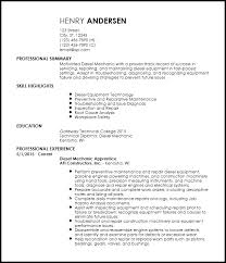 Mechanic Resume Mesmerizing Free EntryLevel Diesel Mechanic Resume Templates ResumeNow
