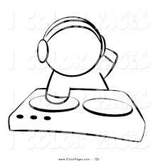 Vector Coloring Page of a Black and White Sketched Human Factor Dj ...
