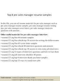 Pre Sales Manager Resume Pre Sales Manager Resume Ideas Of Sample