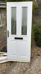 details about white external timber door with 2 glass panels