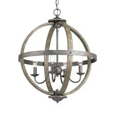 metal chandelier 4 light artisan iron orb chandelier with elm wood accents