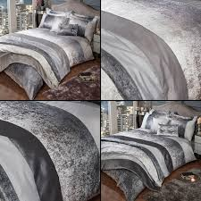 sentinel glitter shimmer crushed velvet duvet quilt cover set silver grey mink natural
