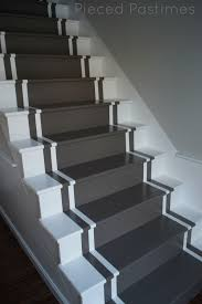 Best Paint For Stairs Pieced Pastimes Diy Painted Stair Runner Basement Pinterest