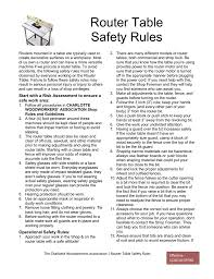 Router Table Safety Charlotte Woodworkers Association