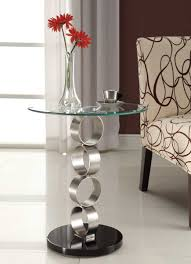 Round Chairside Table Homelegance Galaxy Round Chairside Table Brushed Chrome 4747 02