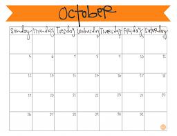 calendar october 2017 editable