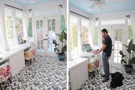 Home office standing desk Office Furniture Sunroom Home Office With Standing Desk Talkpotentialinfo 27 Surprisingly Stylish Small Home Office Ideas