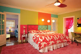 Small Bedroom Ceiling Fan Bedroom Cheerful Living With Colorful Beddings Colorful Interior