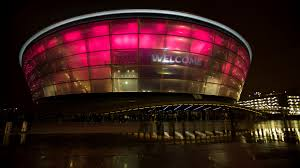 stadium arenas architectural lighting on red color lamp or laser