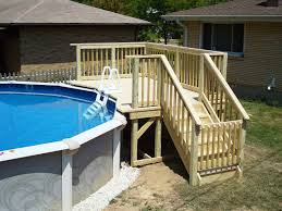 Wood Pool Deck Do It Yourself Above The Ground Pool Ladders Wood Decorations