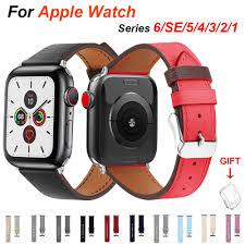 Dây Đeo Bằng Da Mềm Cho Đồng Hồ Thông Minh Apple Watch Series 6 / Se / 5 /  4 / 3 / 2 / 1 Kích Thước 38mm 40mm 42mm 44mm tốt giá rẻ