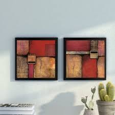 burnt orange 2 piece framed acrylic painting print set under glass on 2 piece wall art wayfair with burnt orange wall art wayfair