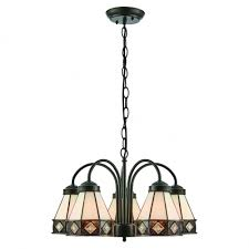 fargo art deco 5 arm ceiling light with down facing tiffany glass shades