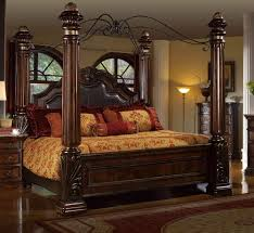McFerran B6005 Rich Brown Solid Hardwood Cal King Canopy Bed Classic Traditional