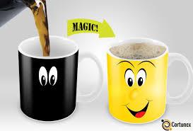 Smiley Face Coffee Mug Cortunex Yellow Wake Up Magic Mug Amazing New Heat Sensitive