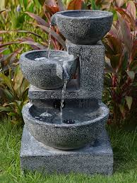 Solar Granite Cascading Bowls Water Feature  WaterFeatures2GoSolar Water Features With Lights