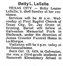 Obituary for Betty Louise LaSalle (Aged 9) - Newspapers.com