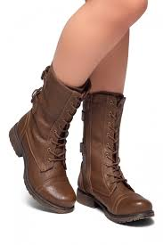 women s brown florence 2military lace up double buckled middle calf combat boots