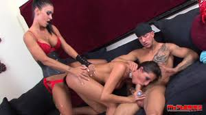 Strap on and cock for busty brunette in FFM threesome Shameless
