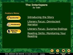 quickwrite collection the interlopers most arguments can be introducing the story literary focus omniscient narrator literary focus surprise endings reading skills