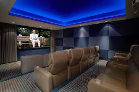 Home Theater Seating Led Lighting Modern Home Theater With Blue Led Lights And Modern Seats