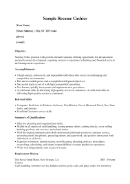 Resume Examples For Cashier Positions Examples Of Resumes