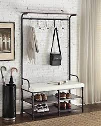 White Coat Rack With Storage Gorgeous HALL TREE STORAGE Bench Entryway Coat Rack Shoe Stand Seat Metal
