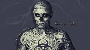 рико зомби молния глаза татуировки человек скелет Hd обои для ноутбука