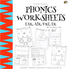 Printable phonics worksheets for kids. Phonics Ear Air Ure Er Worksheets By Koodlesch Tpt