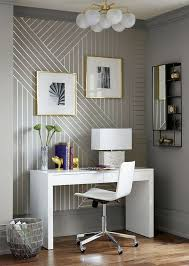linear wallpaper accentuates this home tiny office nook