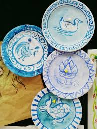 3rd grade art chinese art ming and yuan dynasty porcelain plates using paper plates image only