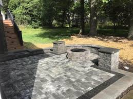 paver patio with custom columns and firepit
