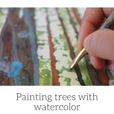 painting trees with watercolor hiking with the dogs