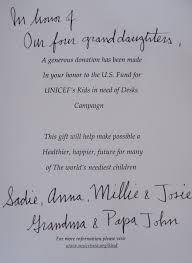 the card from unicef that we gave to our grandaughters