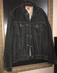 sean john denim jacket cotton size xl dark blue mens jean jacket on front