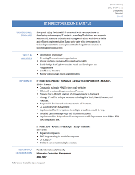 Endearing It Director Resume Templates With Additional Board Of